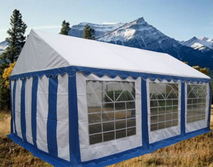 Partytent 3x6 Blauw wit
